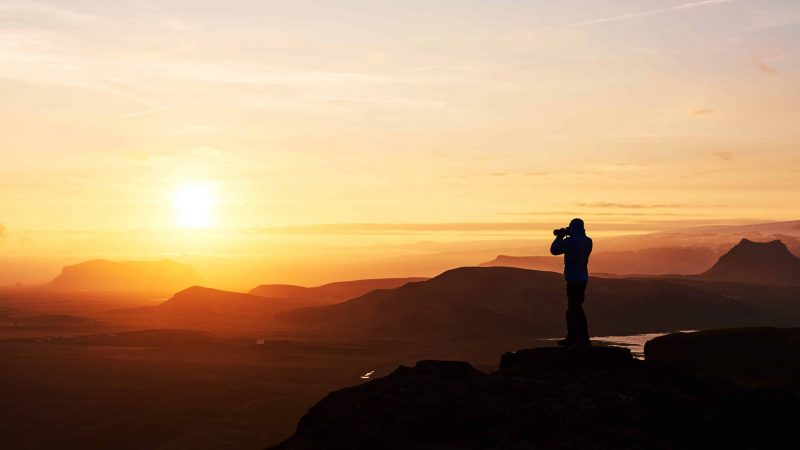 Photography in Iceland - sunset at the top of a mountain
