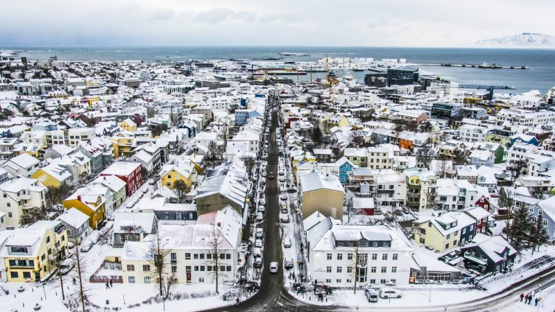 view over Reykjavik from Hallgrimskirkja church in winter