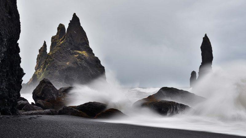 Reynisdrangar on Reynisfjara black sand beach in south Iceland