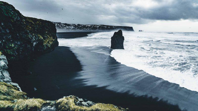 Kirkjufjara and Reynisfjara black sand beach in south Iceland