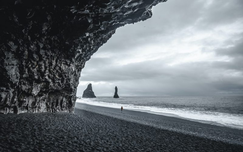 seen from the cave at Reynisfjara black sand beach