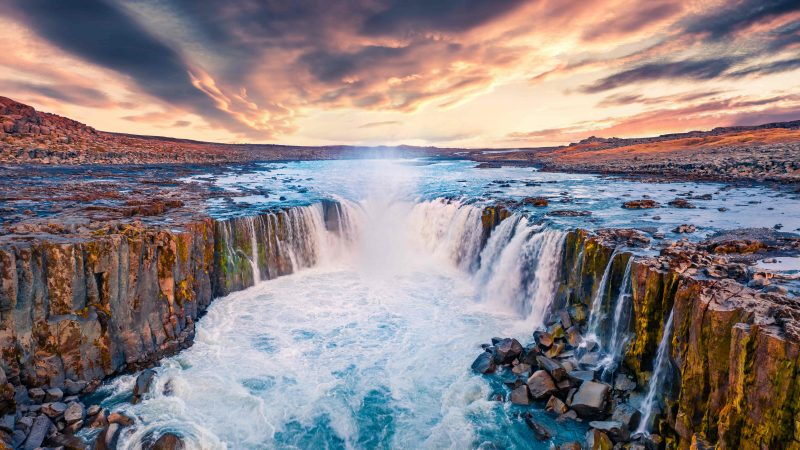 Selfoss waterfall in north Iceland
