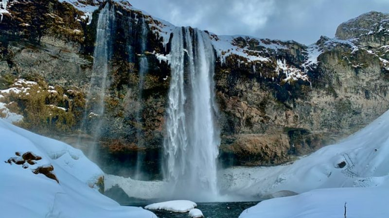 Seljalandsfoss during winter in Iceland