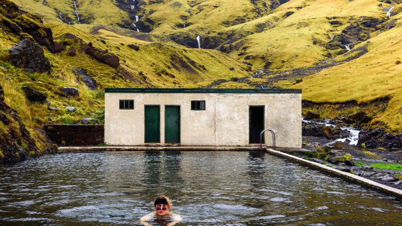 Seljavallalaug swimming pool in south Iceland