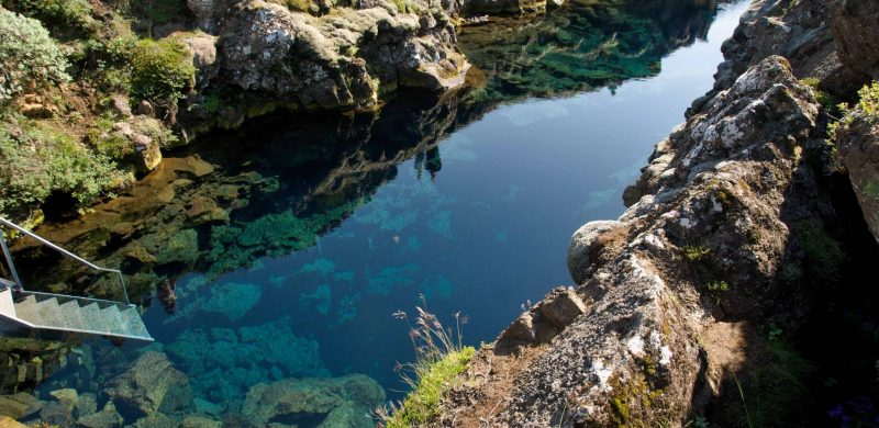 Silfra fissure in Þingvellir National Park, the rift between continents in Iceland north America and Europe