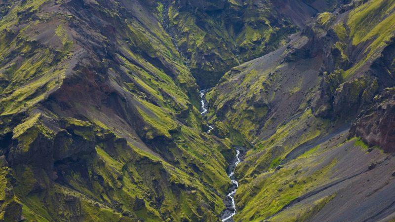 Mountains in Iceland, myrdalsjokull glacier