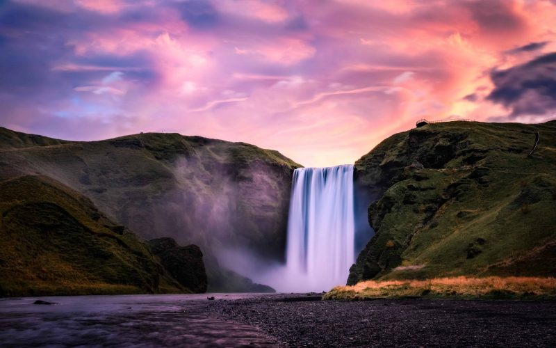 sunset at Skógafoss waterfall in south Iceland