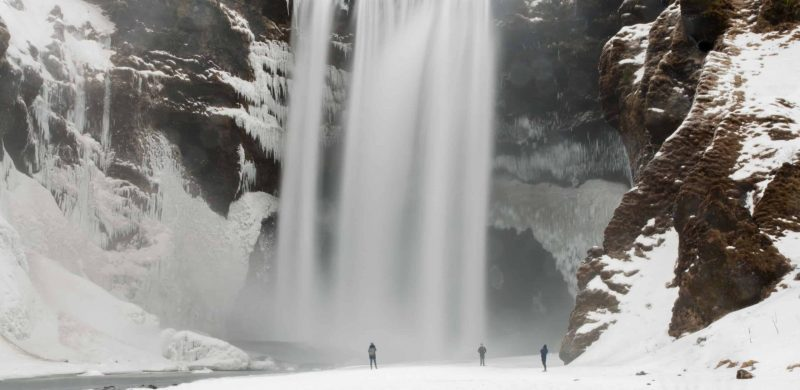 winter and snow at Skógafoss waterfall in south Iceland