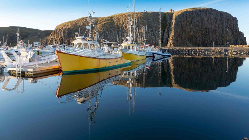 boats at the harbor in Stykkisholmur village in Snæfellsnes Peninsula