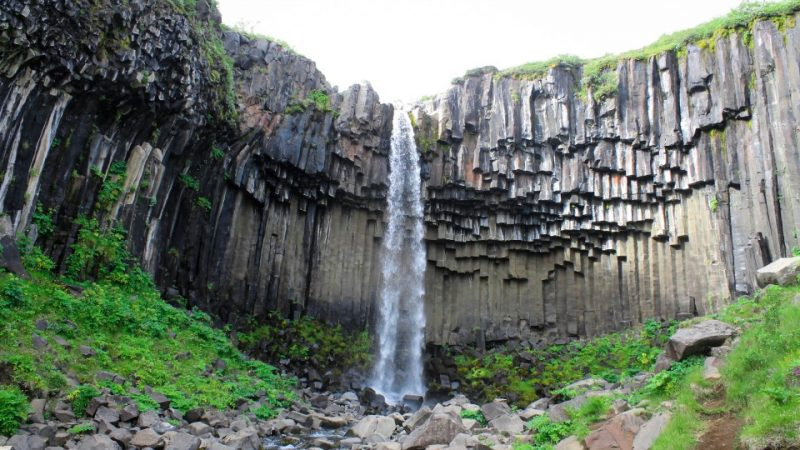 Svartifoss waterfall in Skaftafell Vatnajökull National Park in south Iceland