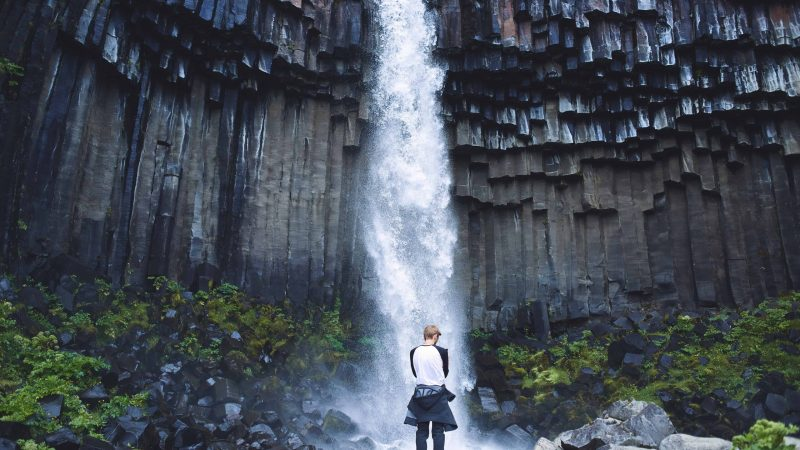 man standing in front of Svartifoss waterfall in Skaftafell Vatnajökull National Park in south Iceland