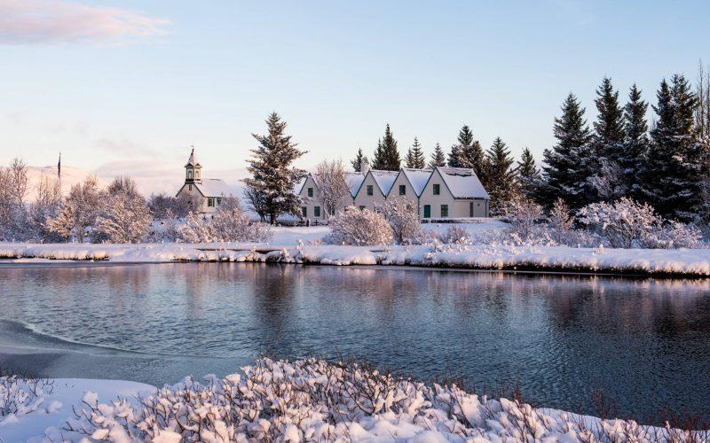 winter and snow at Þingvellir National Park - Golden Circle