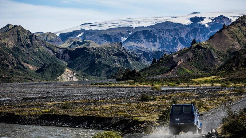 Super Jeep driving on the way to Þórsmork in the highlands of Iceland