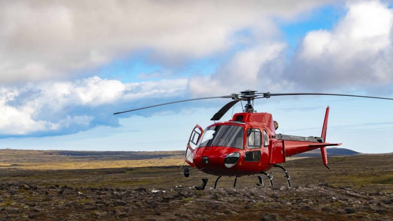 helicopter on the way to Thrihnukagigur volcano - inside the volcano in Iceland