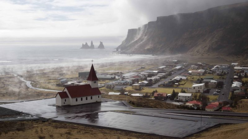 view over Vík church and Vík village in south Iceland