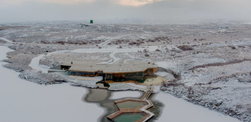 winter at vök baths in east Iceland