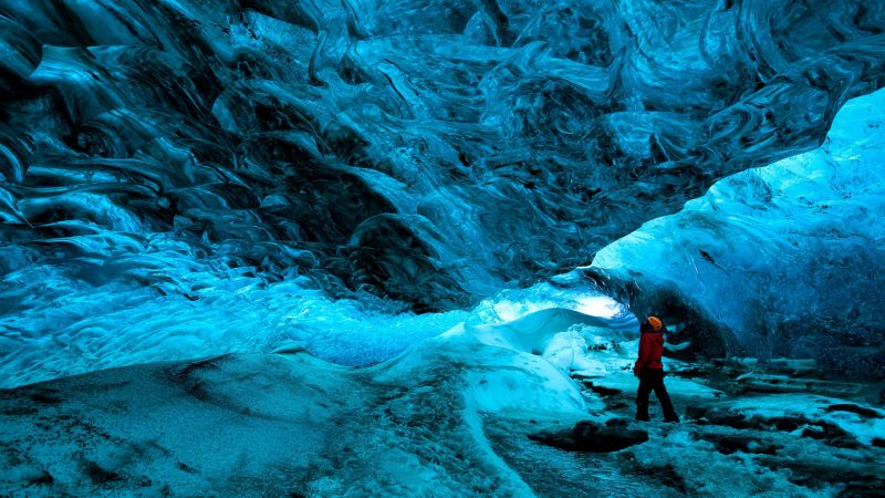 Vatnajokull National Park - natural blue ice cave in Vatnajokull glacier
