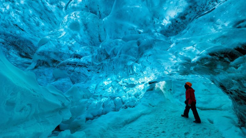 Vatnajokull National Park - natural blue ice cave in Vatnajokull glacier