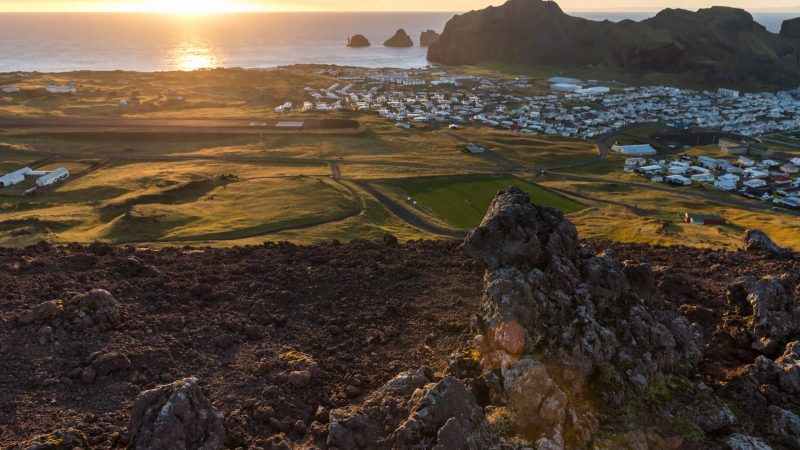 sunset in Vestmannaeyjar island in south Iceland, Westman Islands