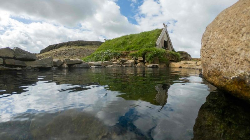 turf house in Hrunalaug hot spring in the Golden Circle Iceland