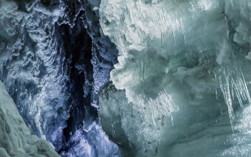 into the glacier ice cave in Langjokull