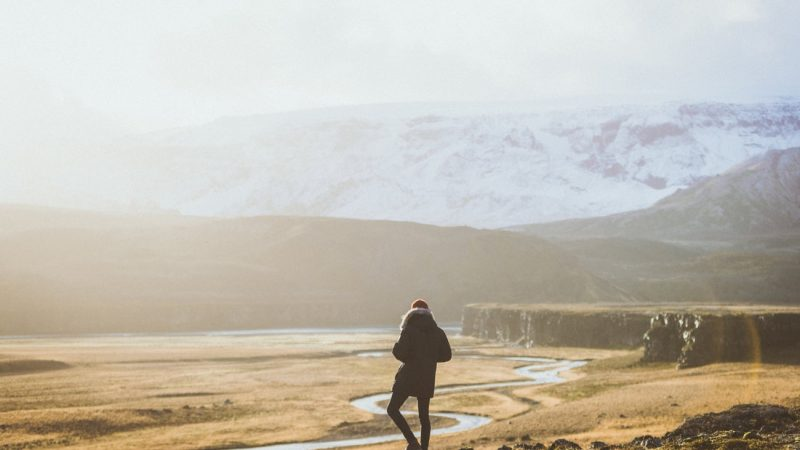 man standing in front of Fjallbak Nature Reserve in the highlands of Iceland