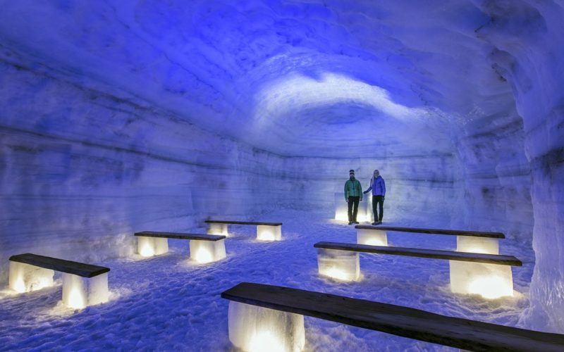 the chapel inside the glacier ice cave in Langjokull