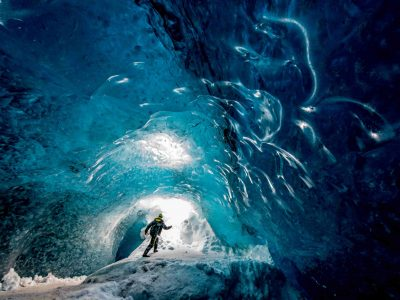 Crystal ice cave in Iceland