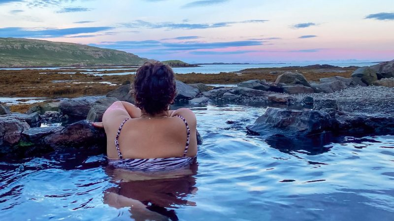 Hellulaug hot spring in the westfjords of Iceland
