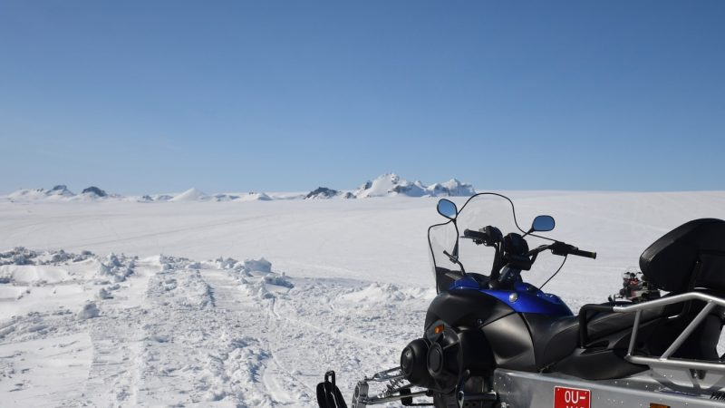 glacier snowmobile on Langjokull glacier