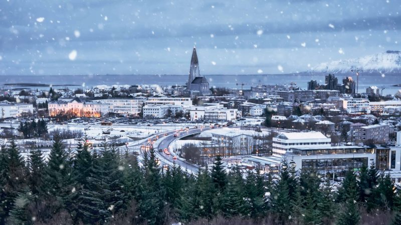 Winter in Reykjavik seen over Hallgrimskirkja church