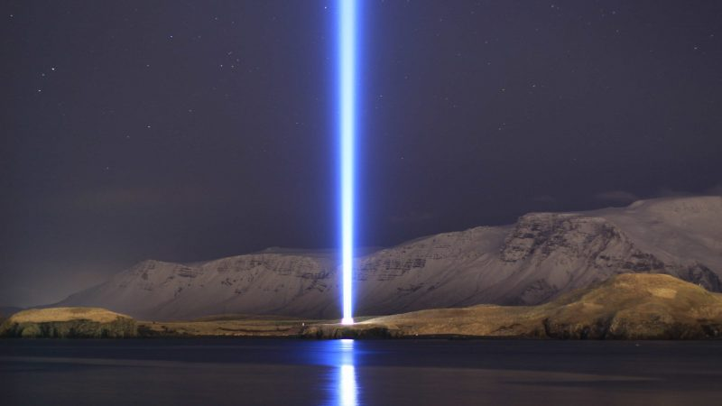 imagine peace tower in Viðey Island