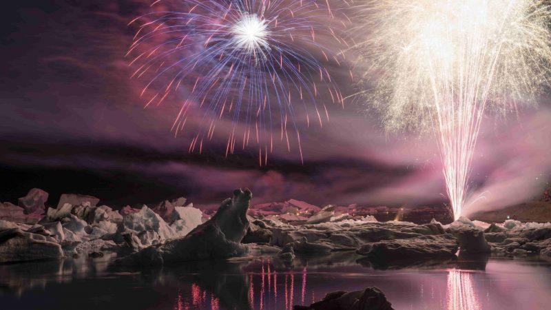 Firewoks over Jokulsarlon glacier lagoon in Iceland