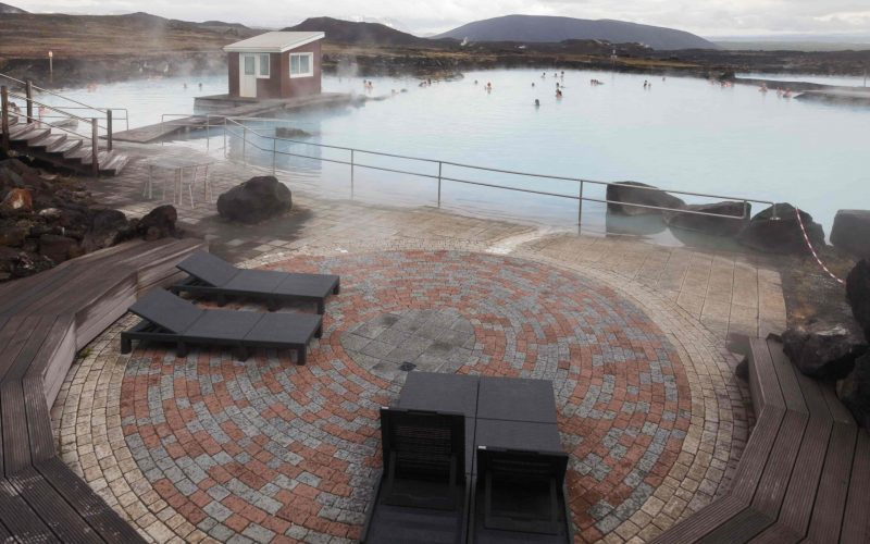 relaxation area at Myvatn Nature baths in north Iceland