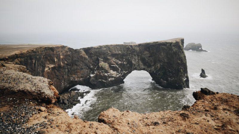 Dyrhólaey arch cliff in south Iceland