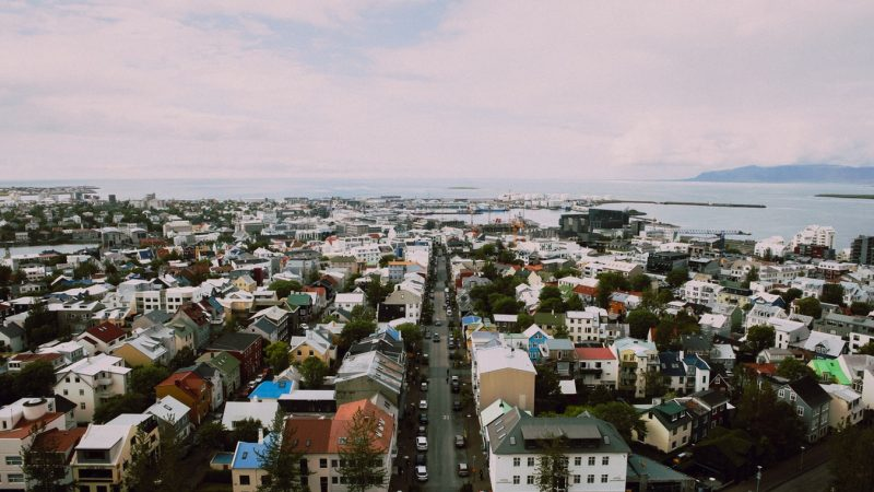Downtown Reykjavik seen from Hallgrimskirkja church