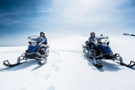 snowmobile on Vatnajokull the largest glacier in Europe